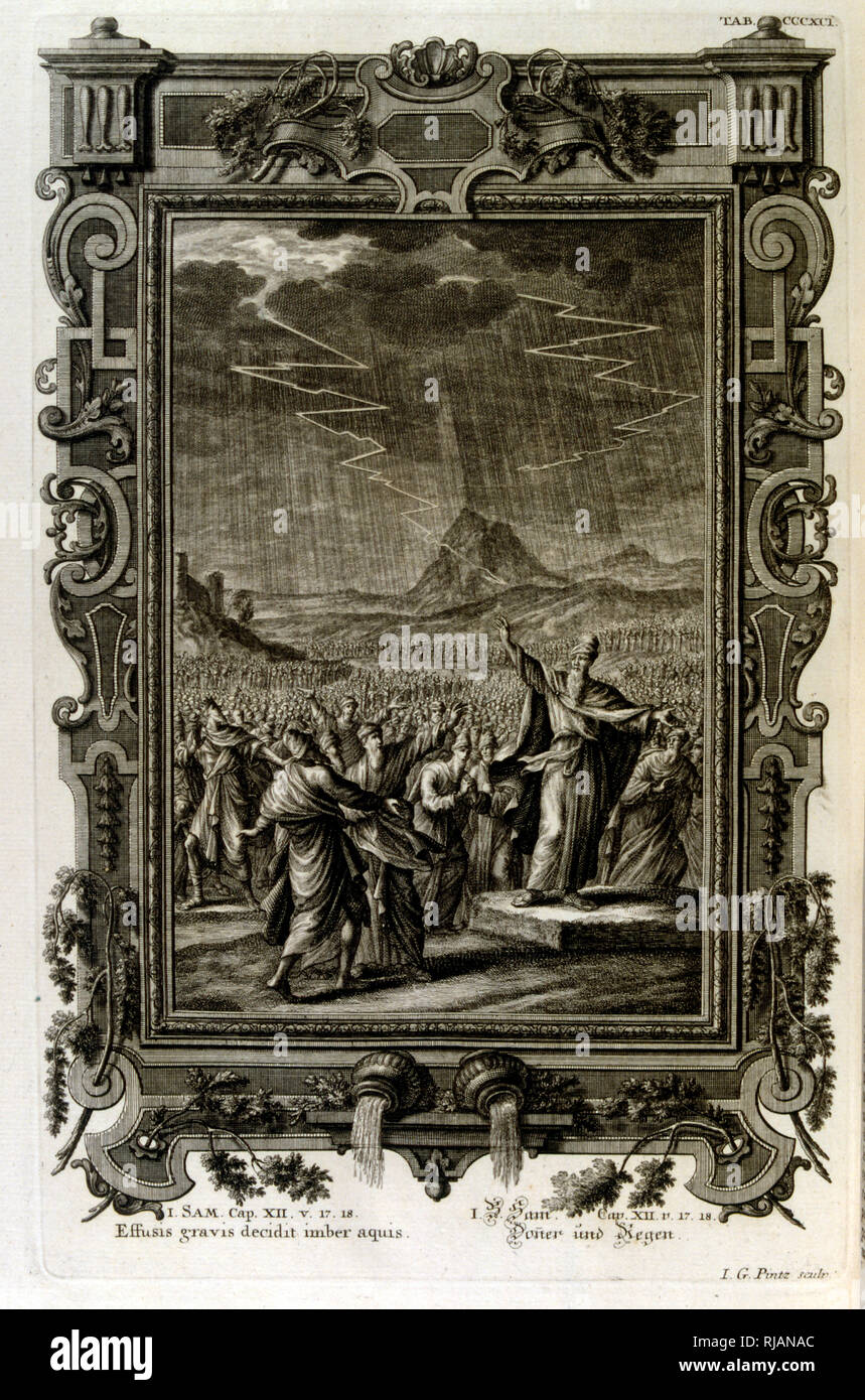 Moses calls down rain and lightening on the Hebrews in the desert; from Physique sacree, ou Histoire-naturelle de la Bible, 1732-1737, by Johann Jakob Scheuchzer (1672 - 1733), a Swiss scholar born at Zurich - Stock Image