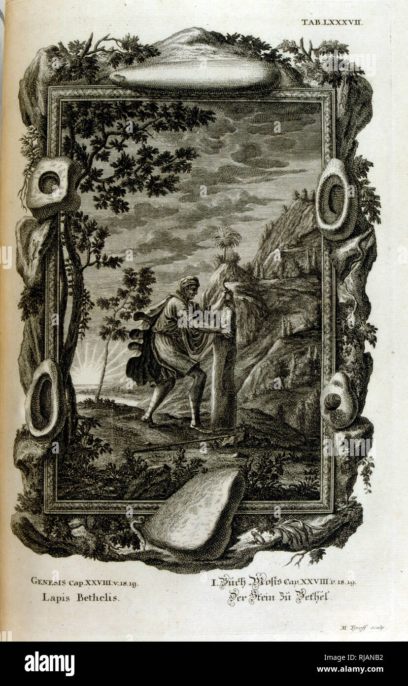 The Stone of Jacob appears in the Book of Genesis as the stone used as a pillow by the Israelite patriarch Jacob at the place later called Bet-El. As Jacob had a vision in his sleep, he then consecrated the stone to God, from Physique sacree, ou Histoire-naturelle de la Bible, 1732-1737, by Johann Jakob Scheuchzer (1672 - 1733), a Swiss scholar born at Zurich - Stock Image