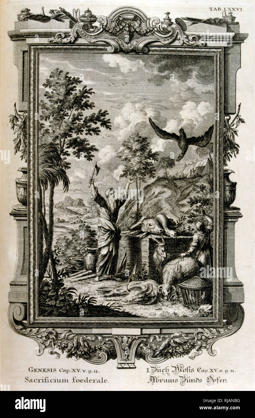 Sacrifice to God by Abraham after Isaac was spared. From Physique sacree, ou Histoire-naturelle de la Bible, 1732-1737, by Johann Jakob Scheuchzer (1672 - 1733), a Swiss scholar born at Zurich - Stock Image