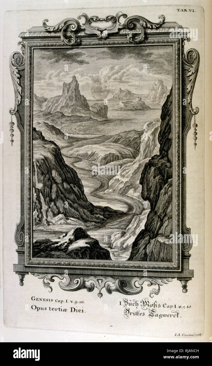 The Genesis creation narrative is the creation myth of both Judaism and Christianity. The Third Day of Creation: The Seas are created. From Physique sacree, ou Histoire-naturelle de la Bible, 1732-1737, by Johann Jakob Scheuchzer (1672 - 1733), a Swiss scholar born at Zurich - Stock Image