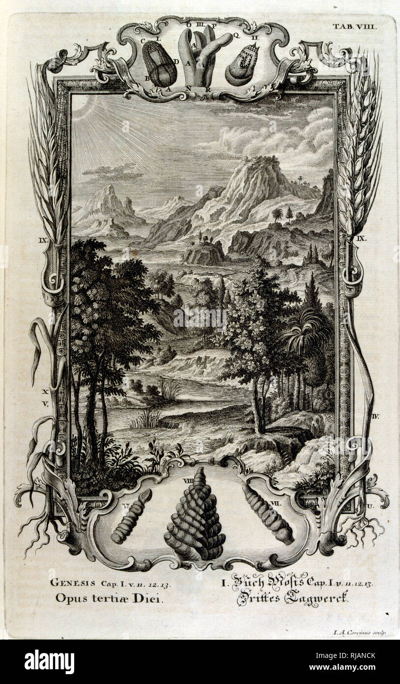 The Genesis creation narrative is the creation myth of both Judaism and Christianity. The Third Day of Creation: The plants are created. From Physique sacree, ou Histoire-naturelle de la Bible, 1732-1737, by Johann Jakob Scheuchzer (1672 - 1733), a Swiss scholar born at Zurich - Stock Image
