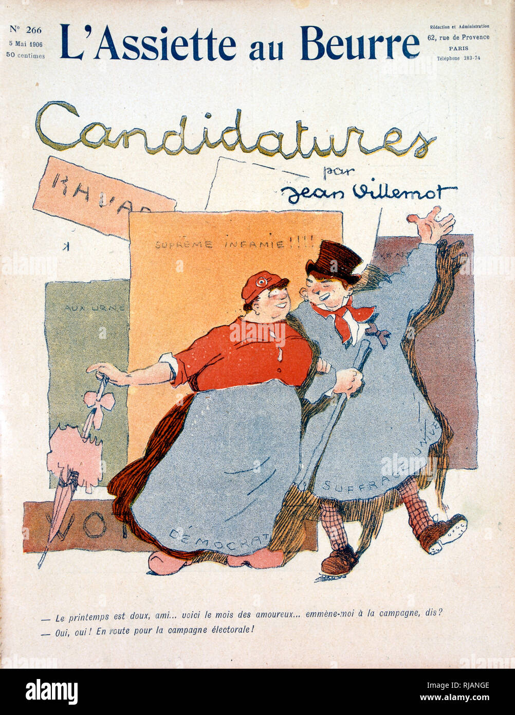 Local election candidates in1905,  Illustration from 'L'Assiette au Beurre', an illustrated French weekly satirical magazine with anarchist political leanings that was chiefly produced between 1901 and 1912. - Stock Image
