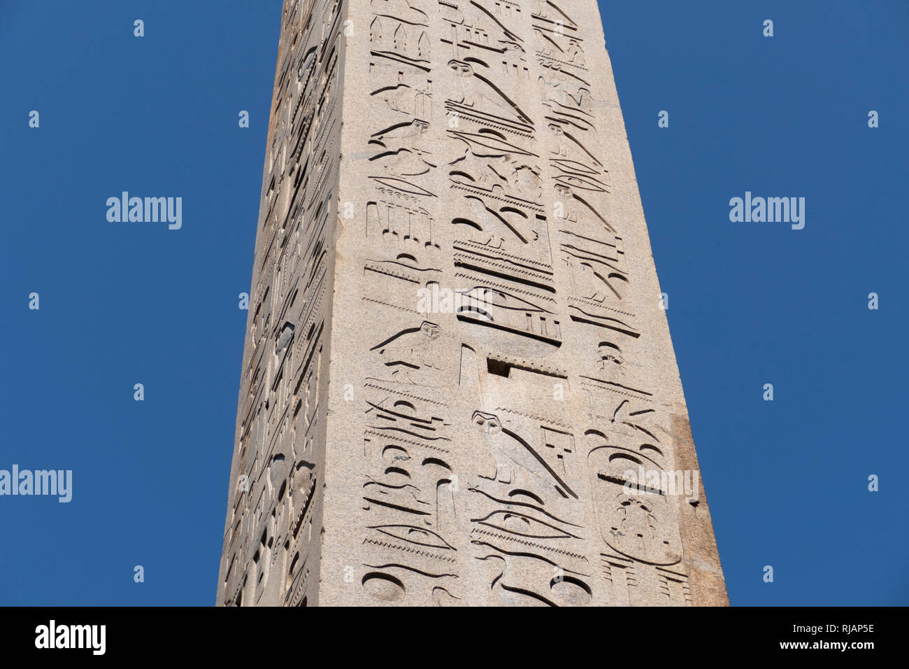 Lateran Obelisk is the largest standing ancient Egyptian obelisk in the world, and it is also the tallest obelisk in Italy, Rome, Der Lateranische Obe Stock Photo