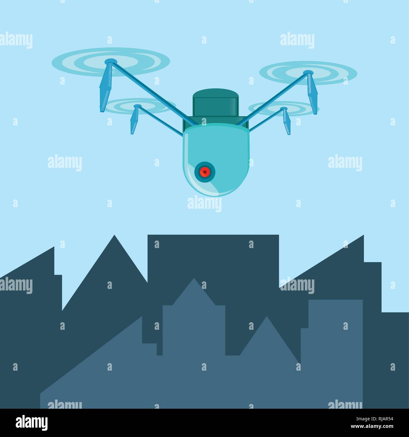 drone technology flying in the city vector illustration design - Stock Vector