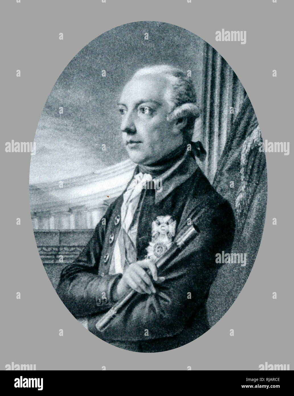 Portrait by Fuger of Joseph II ( 1741 – 1790),  Austrian Emperor, Holy Roman Emperor from 1765 to 1790 and ruler of the Habsburg lands from 1780 to 1790 Stock Photo