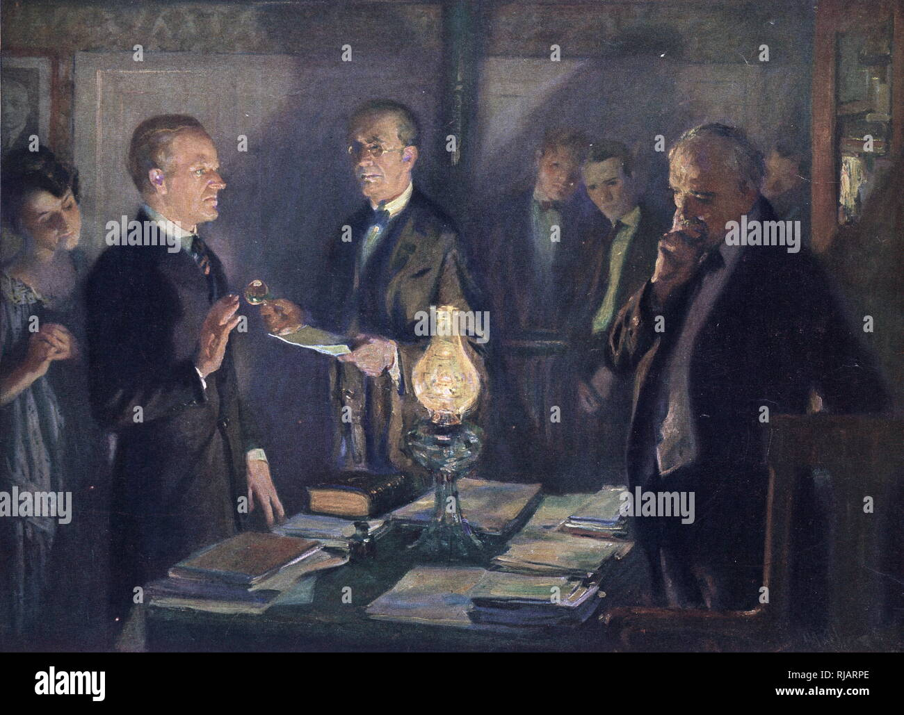 The first inauguration of Calvin Coolidge as the 30th President of the United States was held on Friday, August 3, 1923 at the Coolidge Homestead in Plymouth Notch, Vermont, following the death of President Warren G. Harding the previous evening. Stock Photo