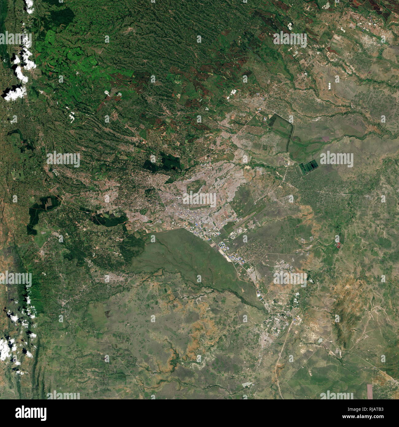 Satellite photograph of Nairobi in Kenya. Taken from the Landsat 8 in 2016, show the expansion of Kenya's capital in the past three decades. - Stock Image