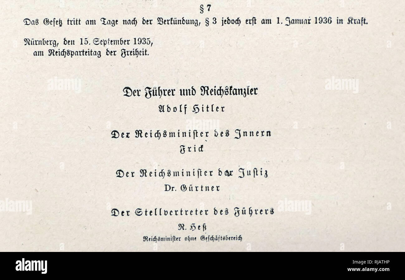 The Nuremberg Laws (Nürnberger Gesetze) were anti-Semitic laws in Nazi Germany in 1935. The preamble states that the law is intended 'to conserve the purity of German blood. 'Marriages as well as extra-marital relations between Jews and per-sons of German or cognate blood are forbidden. Jews may not employ in their homes female persons of German or cognate blood Under 45 years of age. Jews are not allowed to display the colours of the Reich or to hoist the national flag. Severe penalties will be imposed for violation of this law' - Stock Image