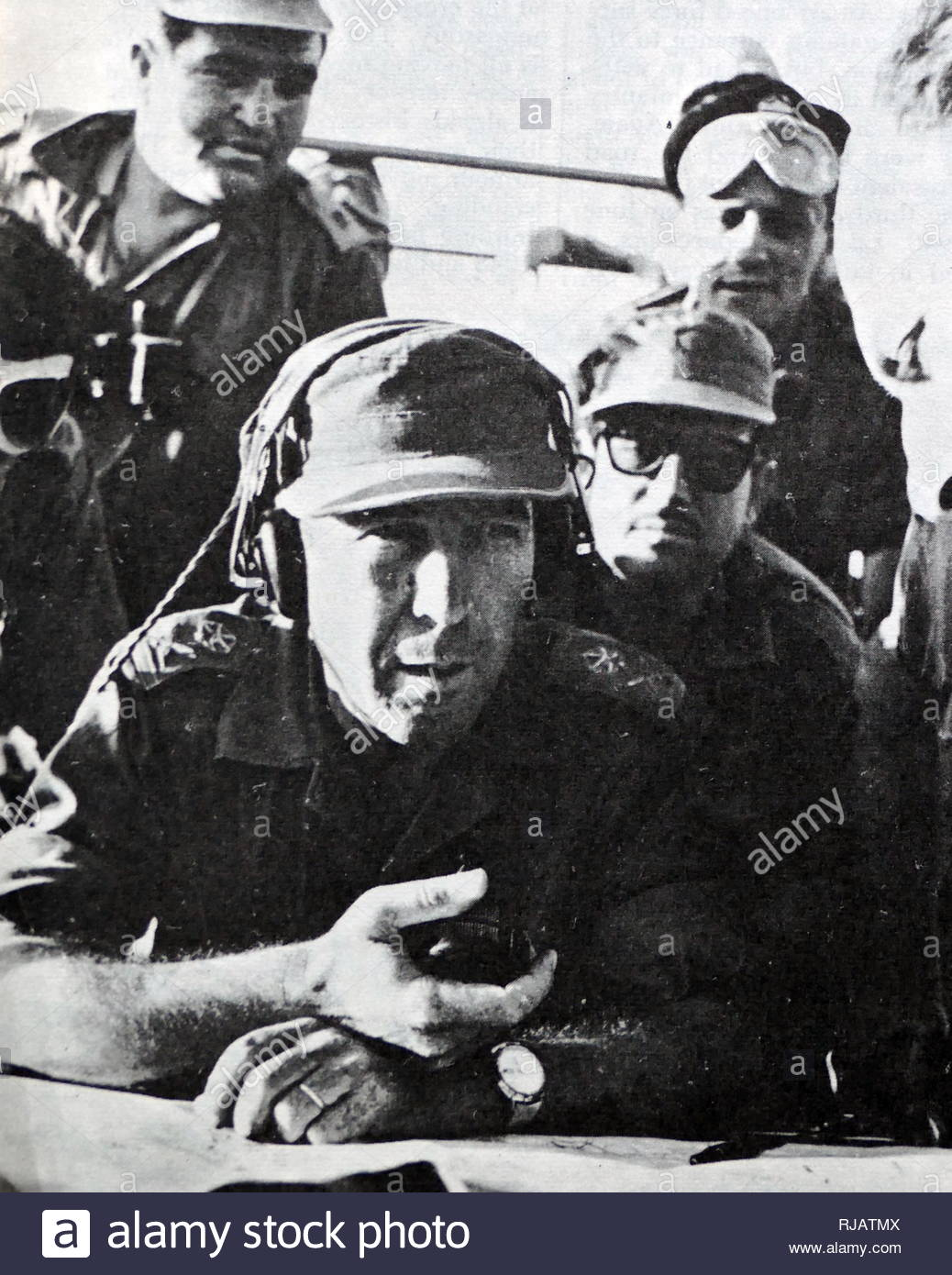 Israel Tal (1924 - 2010), Israel Defense Forces (IDF) general known for his skills in tank warfare. armoured-division commander in Sinai Peninsula during the Six-Day War, and commander of the southern front during the final stages of the Yom Kippur War. Tal was the creator of the Israeli armoured doctrine that led to the Israeli successes in the Sinai surprise attack of the Six-Day War. In 1964, General Tal took over the Israeli armoured corps and organized it into the leading element of the Israeli Defense Forces, characterized by high mobility and relentless assault - Stock Image