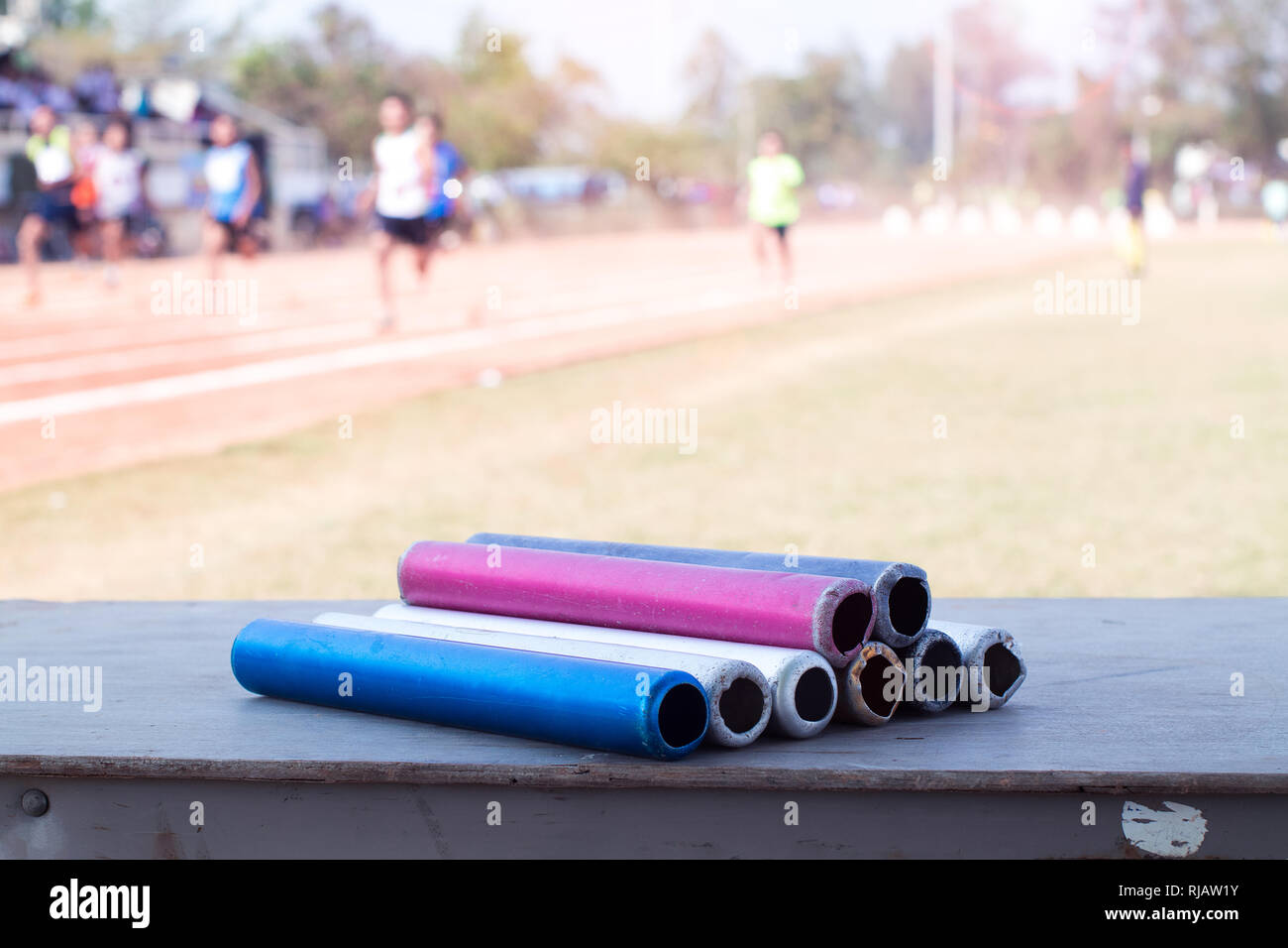 The group of baton in  Athletics - Stock Image