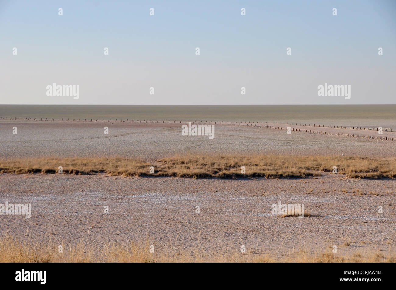 At the end of civilised world on the boarder of the Etosha Salt Pans - Stock Image