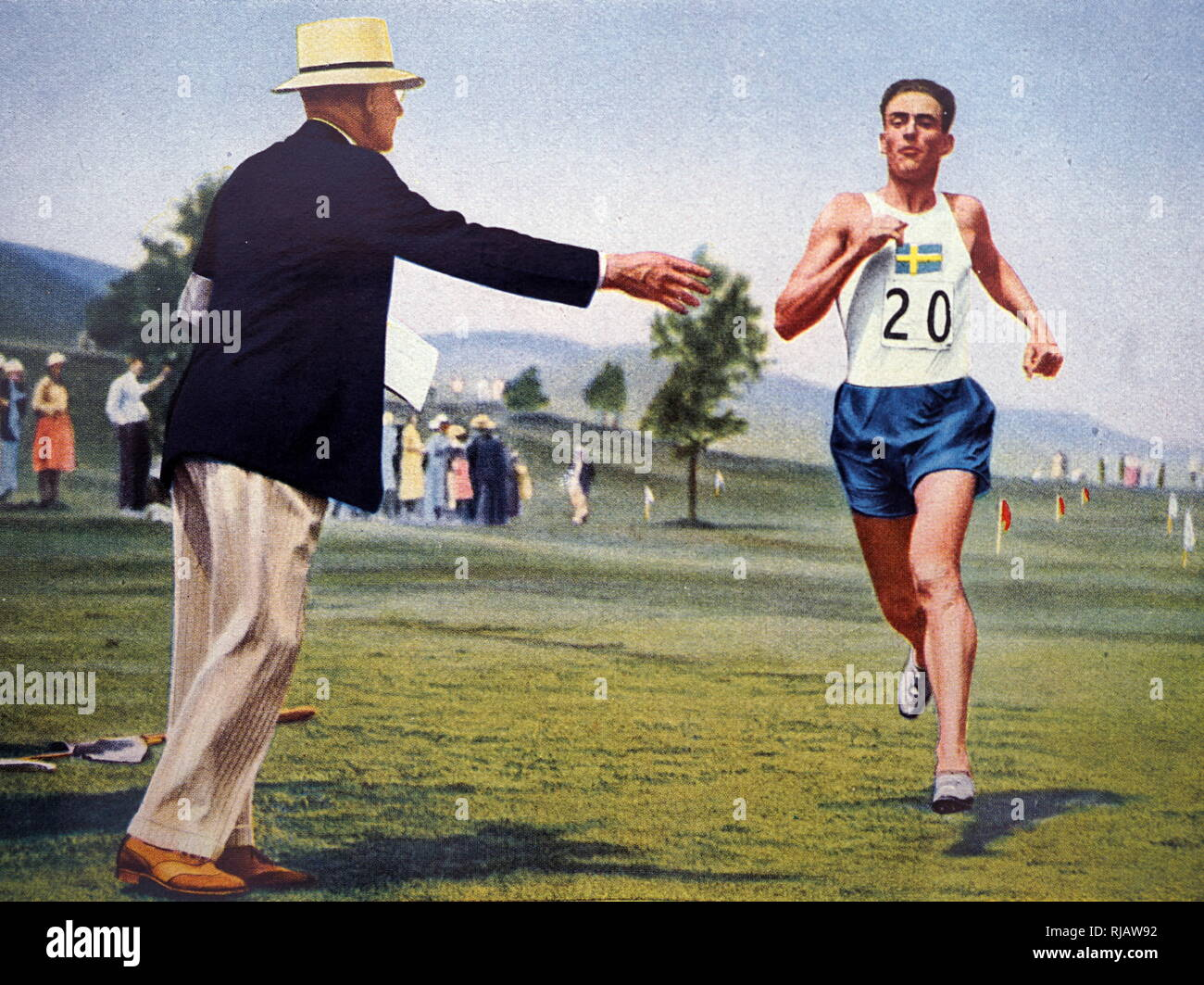 Photograph of Johan Gabriel Oxenstierna af Korsholm och Wasa (1899 - 1995) at the 1932 Olympic games. He took gold for Sweden in the individual pentathlon. - Stock Image