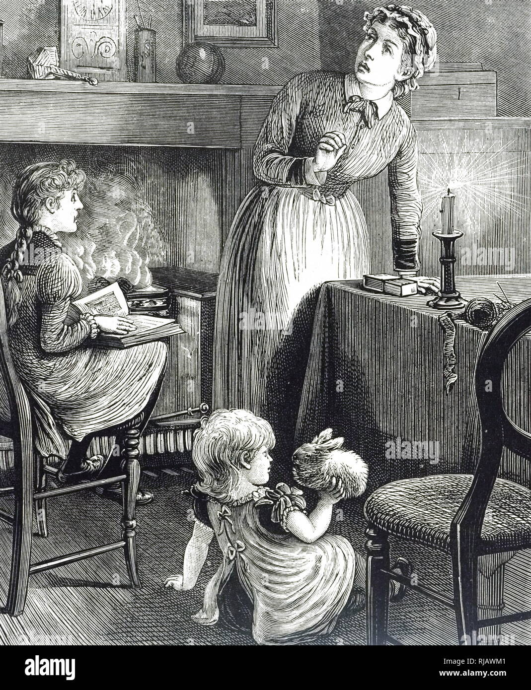 An engraving depicting a nursery maid and her charges. A box of matches is by the candlestick on the table. Dated 19th century - Stock Image