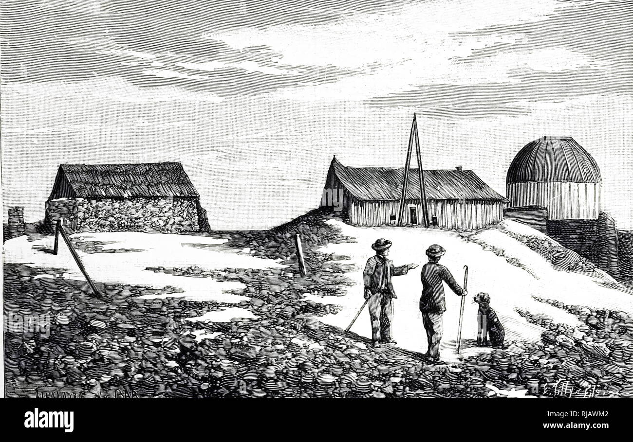 An engraving depicting a meteorological observatory on Mont Mounier - part of the Nice Observatory. Dated 19th century - Stock Image