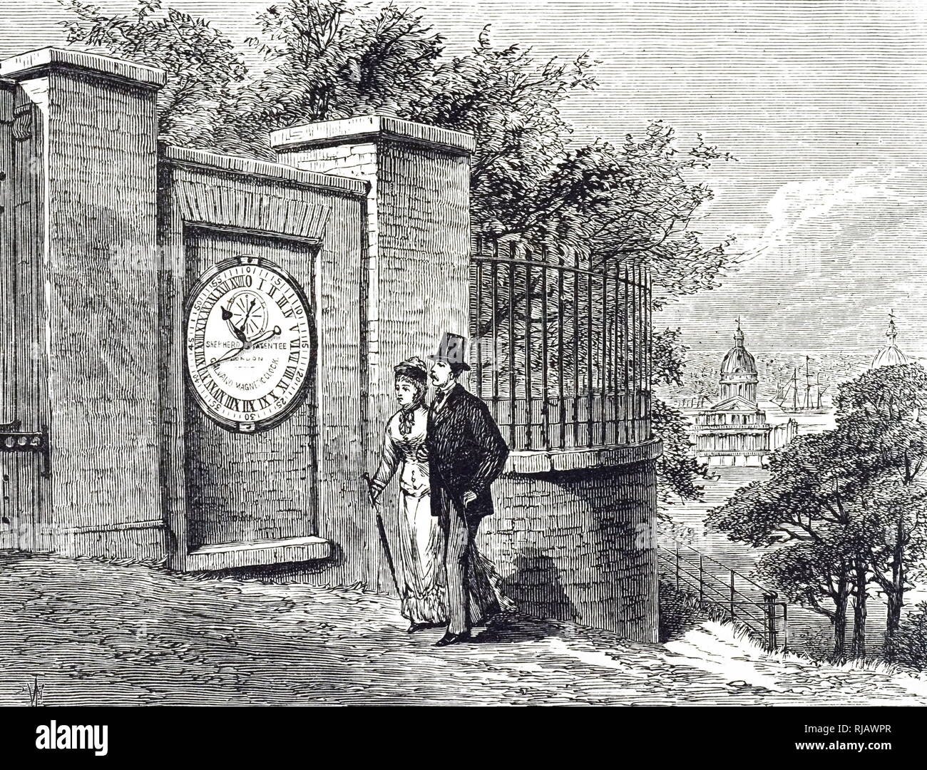 An engraving depicting a public electric clock installed by Airy at the gate of the Royal Greenwich Observatory. Dated 19th century - Stock Image