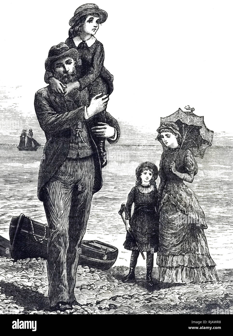 An engraving depicting a family day at the seaside. Illustrated by Everard Hopkins (1860-1928) a British illustrator. Dated 19th century - Stock Image