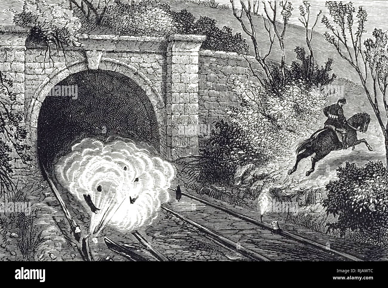 An engraving depicting a cavalry pioneer blowing up a railway line. These pioneers, equipped with a belt full of small charges with a belt full of small charges of dynamite or gun cotton, were able to sabotage strategic targets. Dated 19th century - Stock Image
