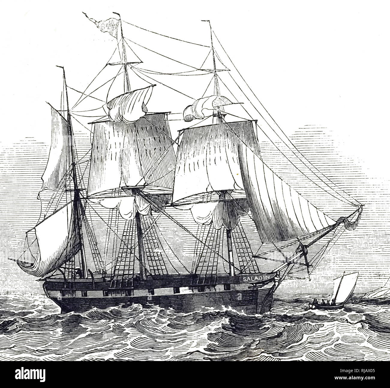 An engraving depicting the Saladin a British barque that made voyages between Britain and the coast of Peru, carrying shipments of guano. Dated 19th century - Stock Image