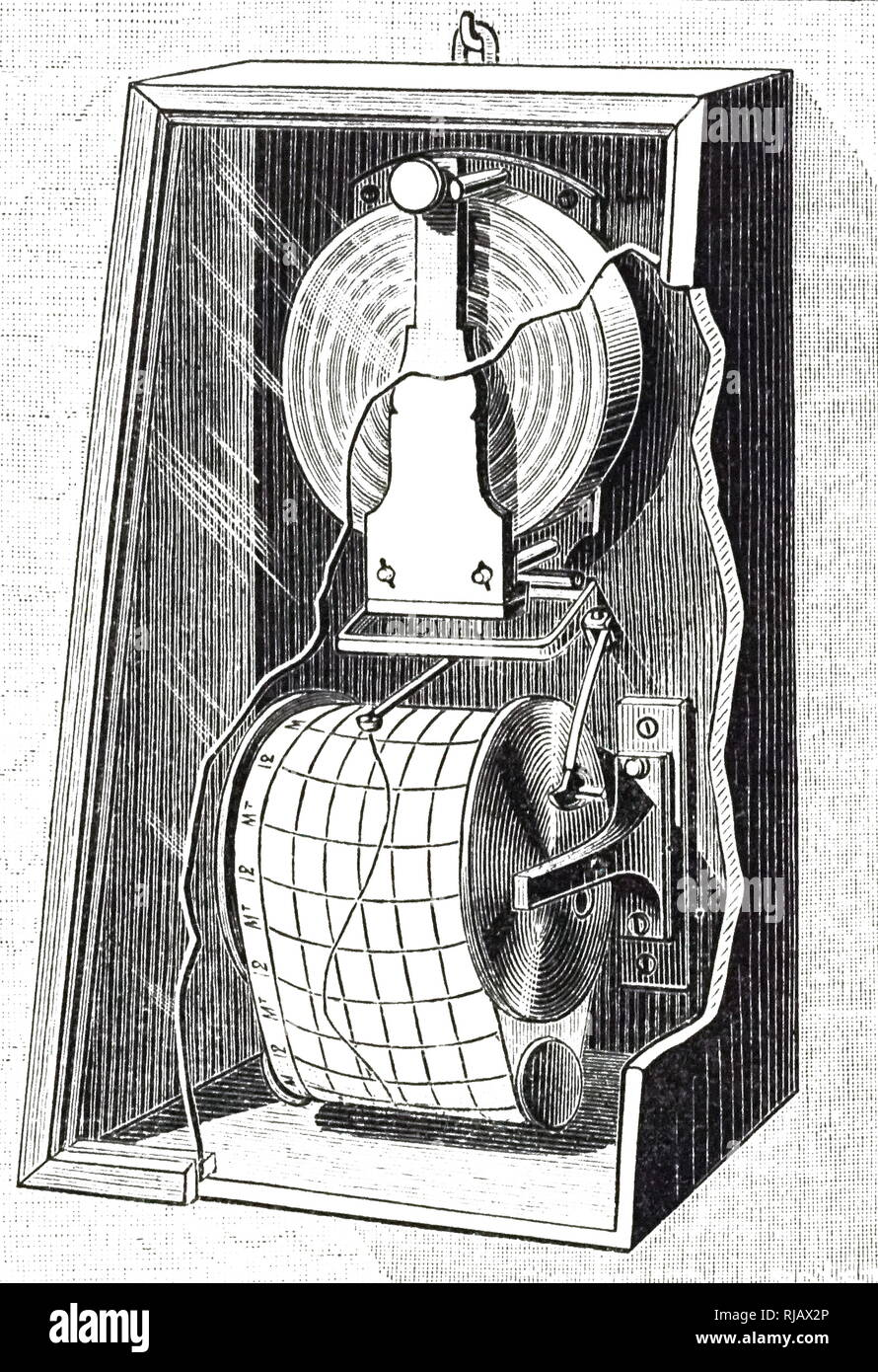 An engraving depicting Redier's registering barometer. A barometer is a scientific instrument used in meteorology to measure atmospheric pressure. Invented by Antoine Redier (1817-1892) a French inventor, engineer and watchmaker. Dated 19th century - Stock Image