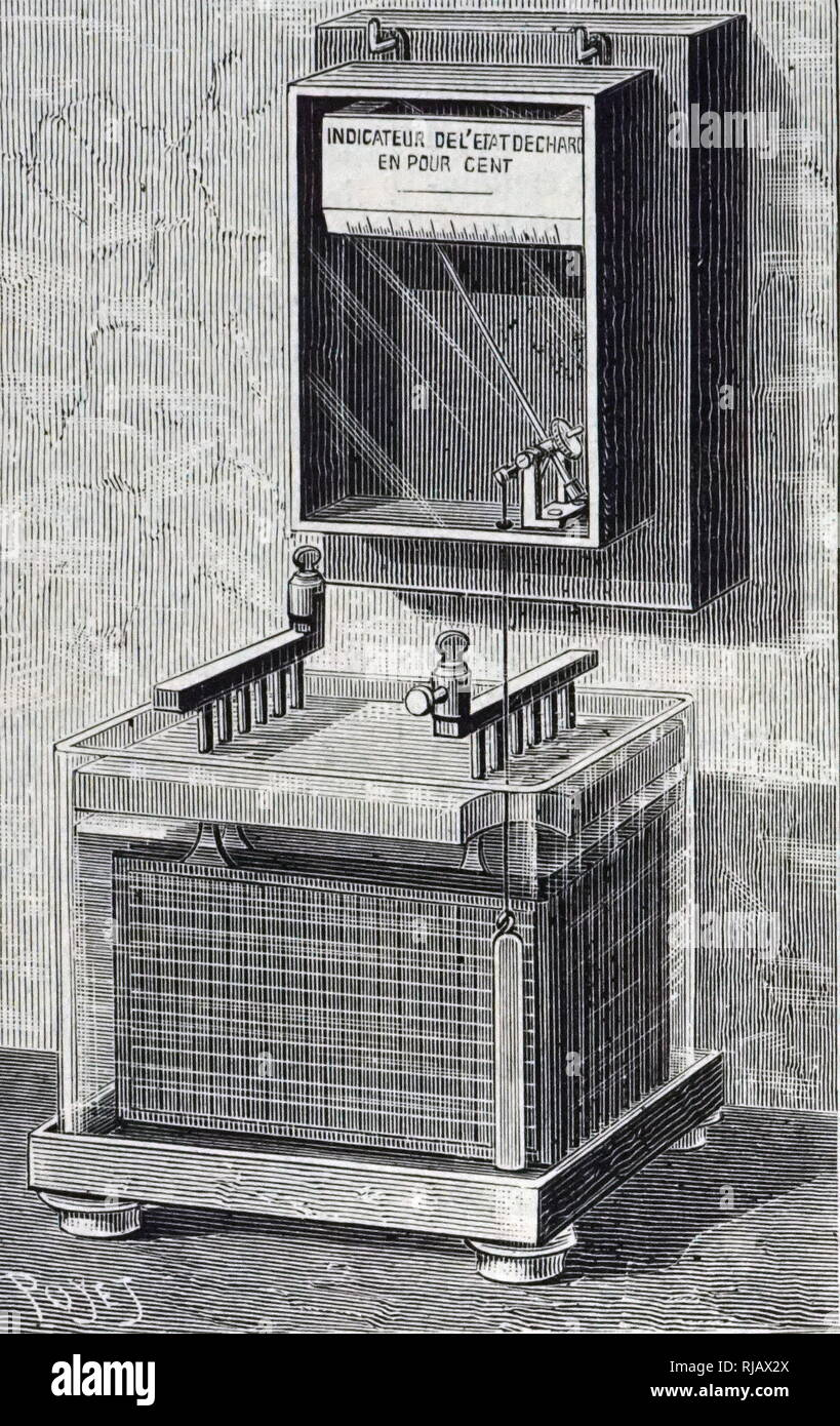 An engraving depicting Roux's meter for checking accumulator charge. Pierre Paul Emile Roux (1853-1933) a French physician, bacteriologist and immunologist. Dated 19th century - Stock Image