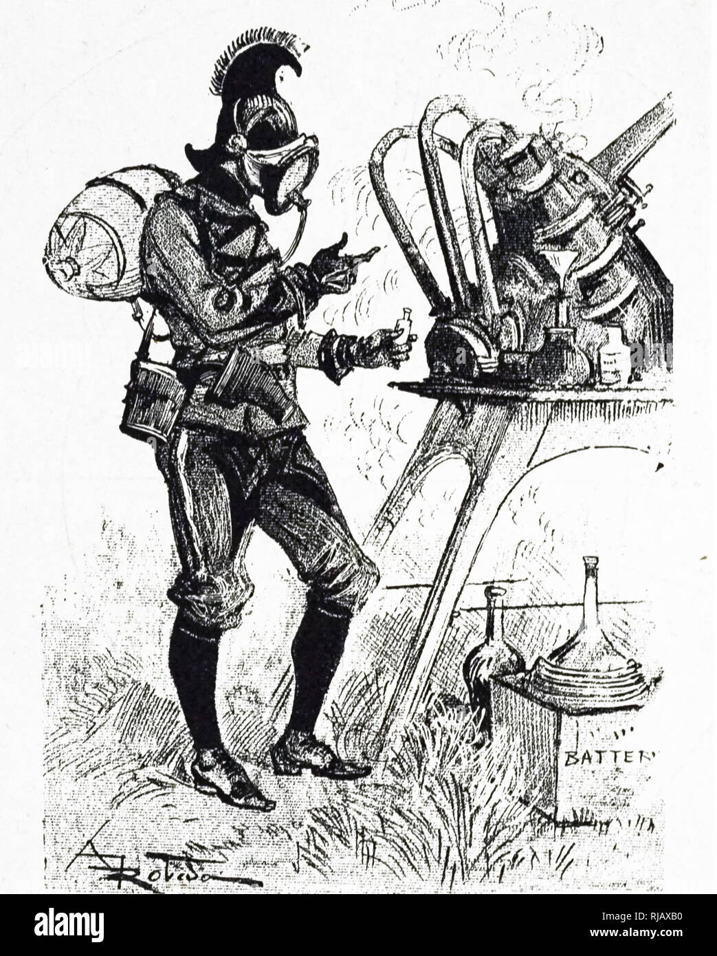 An engraving depicting an author's idea of warfare corps in the 1950s: a lieutenant in the chemical warfare corps. Dated 19th century - Stock Image