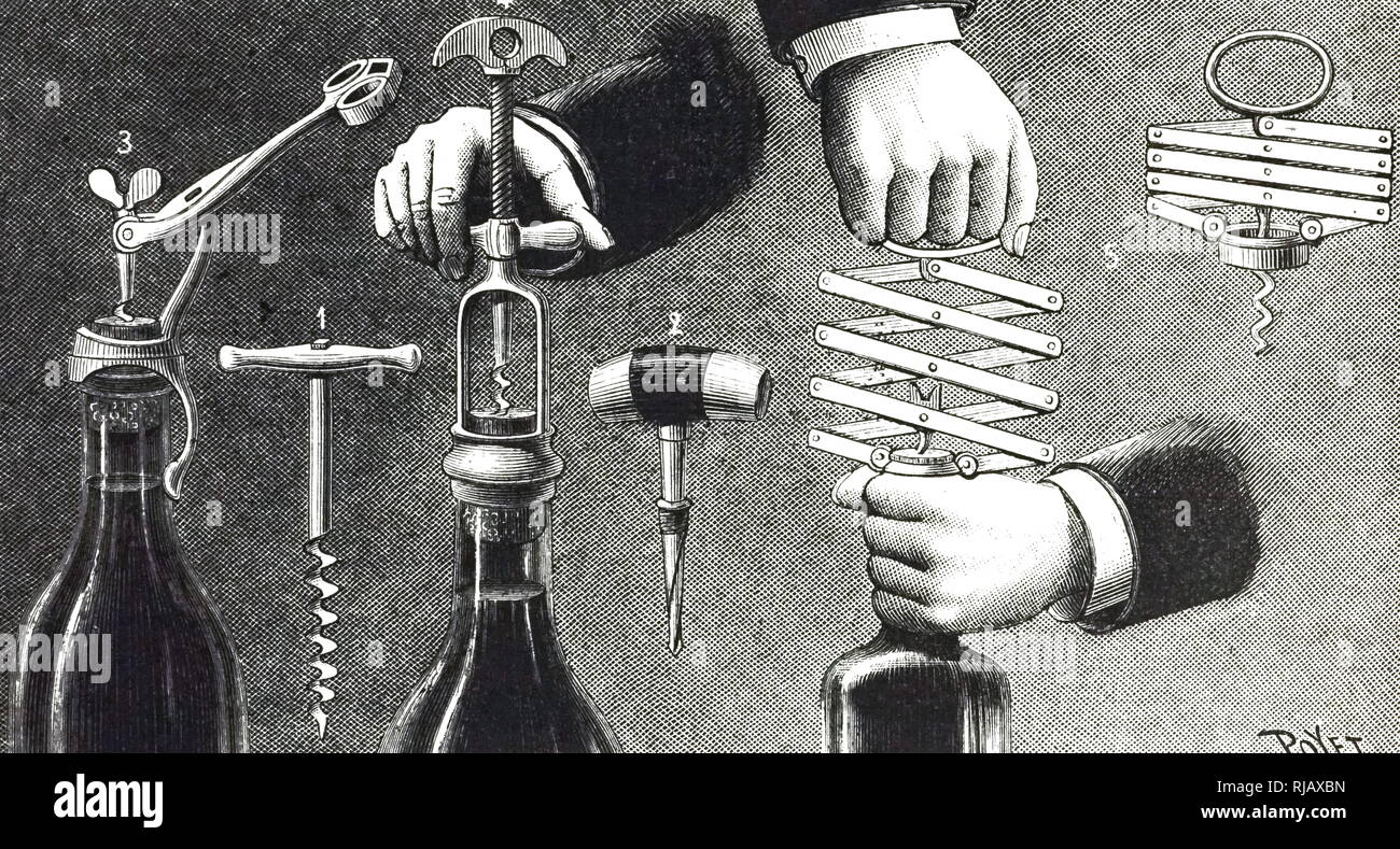 An engraving depicting various forms of corkscrews compared with the conventional structure (coil). Dated 19th century - Stock Image