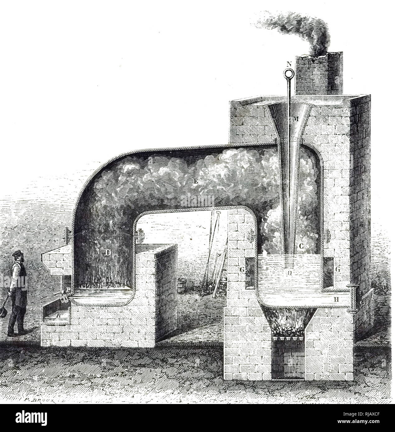 An engraving depicting a sectional view of a German still for purification of crude sulphur. Dated 19th century - Stock Image