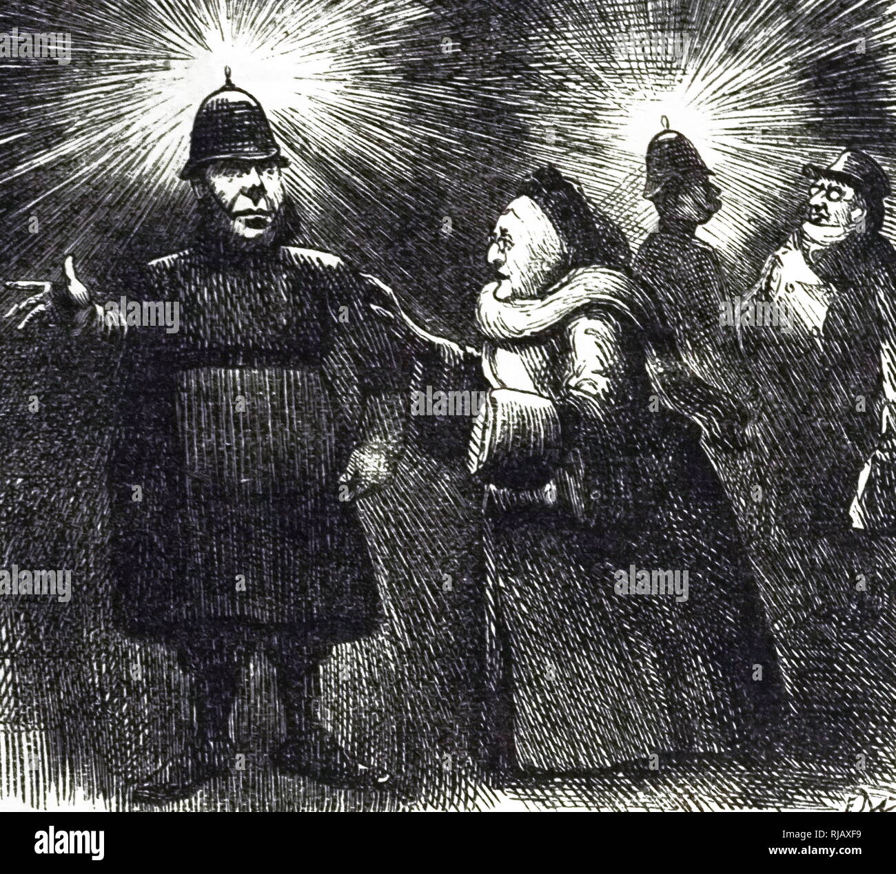 A cartoon commenting on the usefulness of electric lighting. Dated 19th century - Stock Image