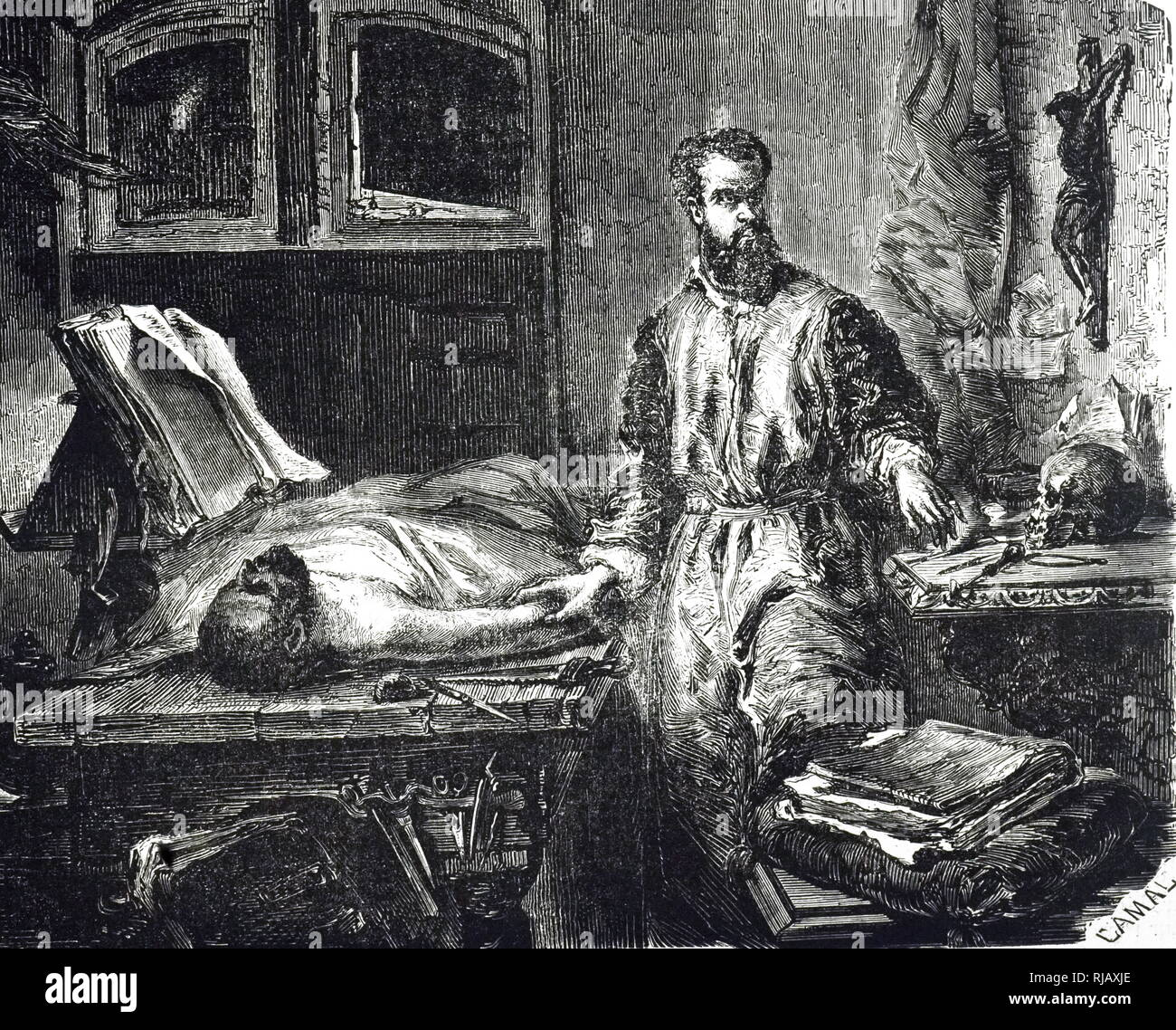 An engraving depicting Andreas Vesalius (1514-1564) a Flemish anatomist, physician, and author. After a picture by Edouard Hamman (1819-1888) a Belgian painter and engraver. Dated 19th century - Stock Image