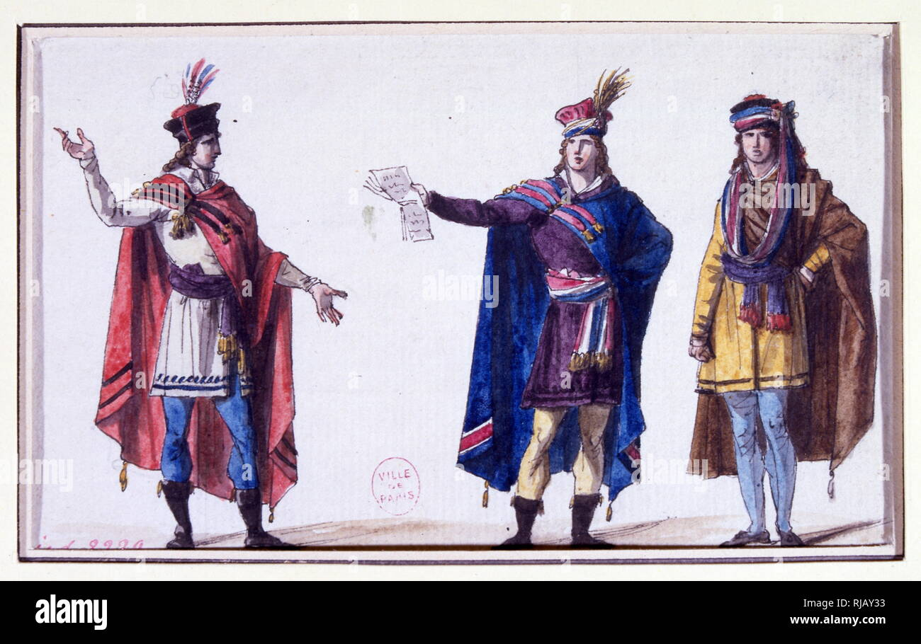 illustration depicting the magistrates in uniform, during the French Revolution 1789-94 - Stock Image