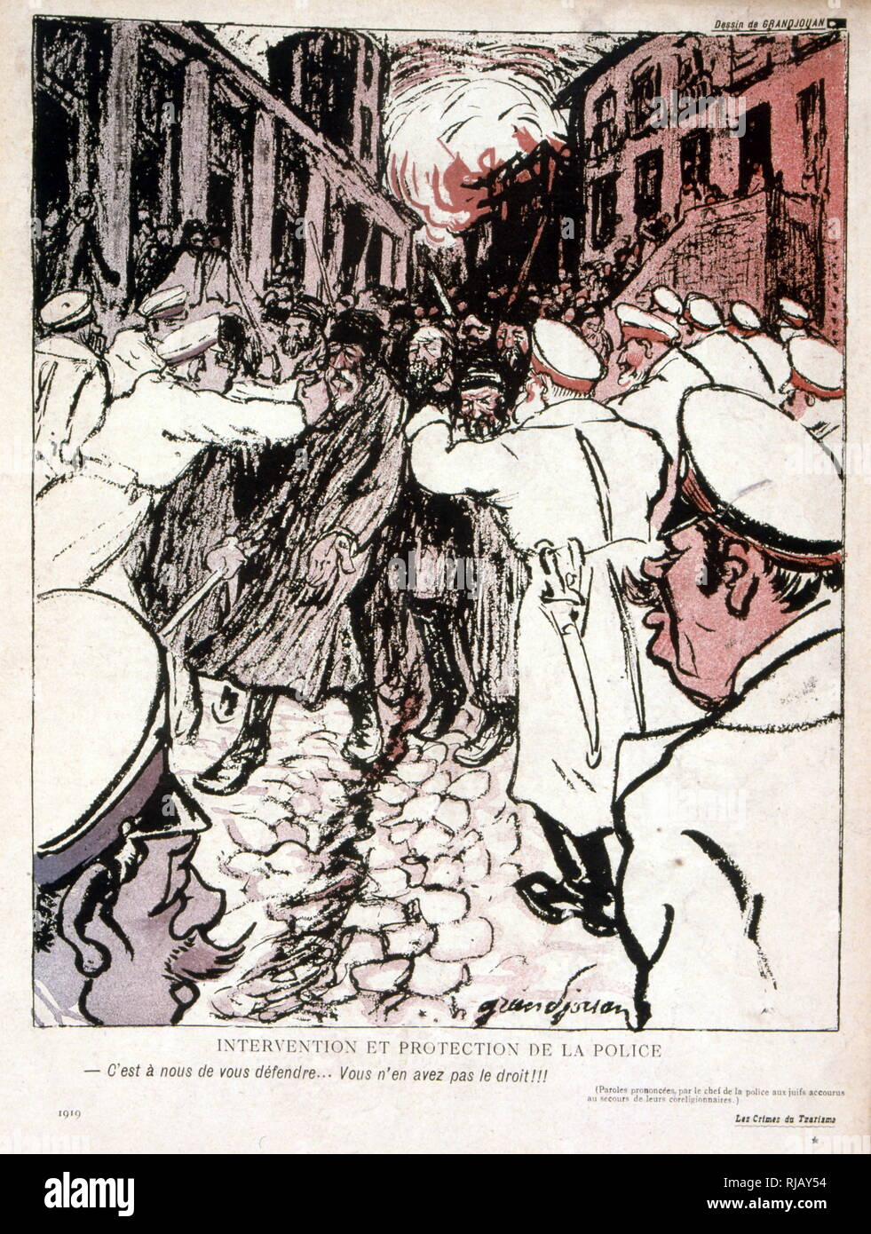 French satirical depiction of the Kishinev pogrom;  an anti-Jewish riot that took place in Kishinev, the capital of the Bessarabia Governorate in the Russian Empire, on April 19 and 20, 1903. Further rioting erupted in October 1905. In the first wave of violence, which was associated with Easter, 49 Jews were killed, large numbers of Jewish women were raped and 1,500 homes were damaged - Stock Image
