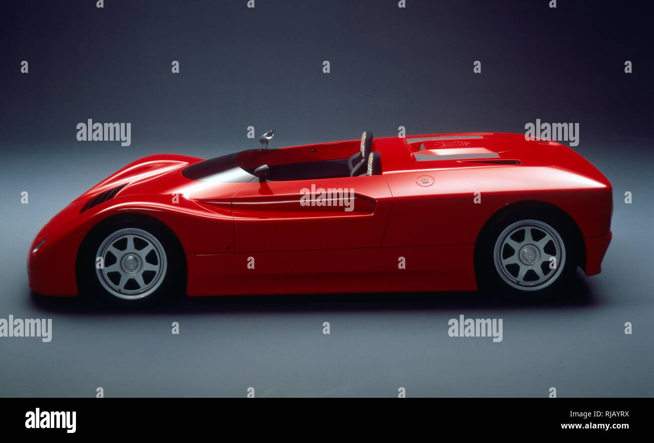 The Maserati Barchetta, mid-engined, two-door, two-seat sports car, produced at De Tomaso's factory in Modena. It featured a mid-engine V6 AM501 Maserati biturbo engine 1996cc, accelerating the car to about 180 mph (290 km/h). The development of a road version was stopped at a late stage. - Stock Image