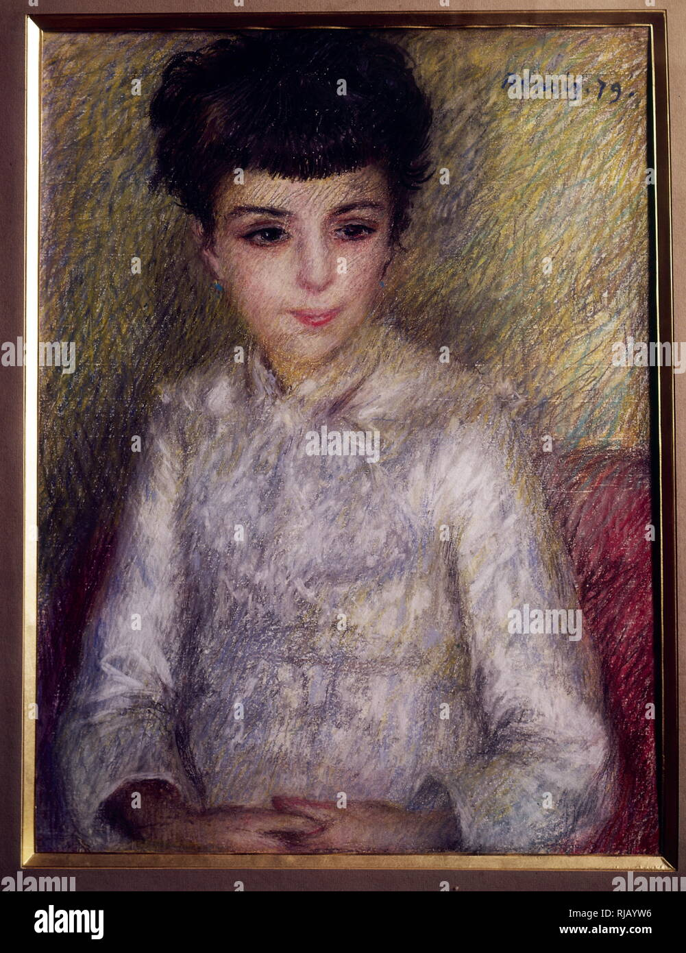 Portrait of young brunette girl, sitting with hands crossed. pastel on paper. By Pierre Auguste Renoir (1841-1919) - Stock Image