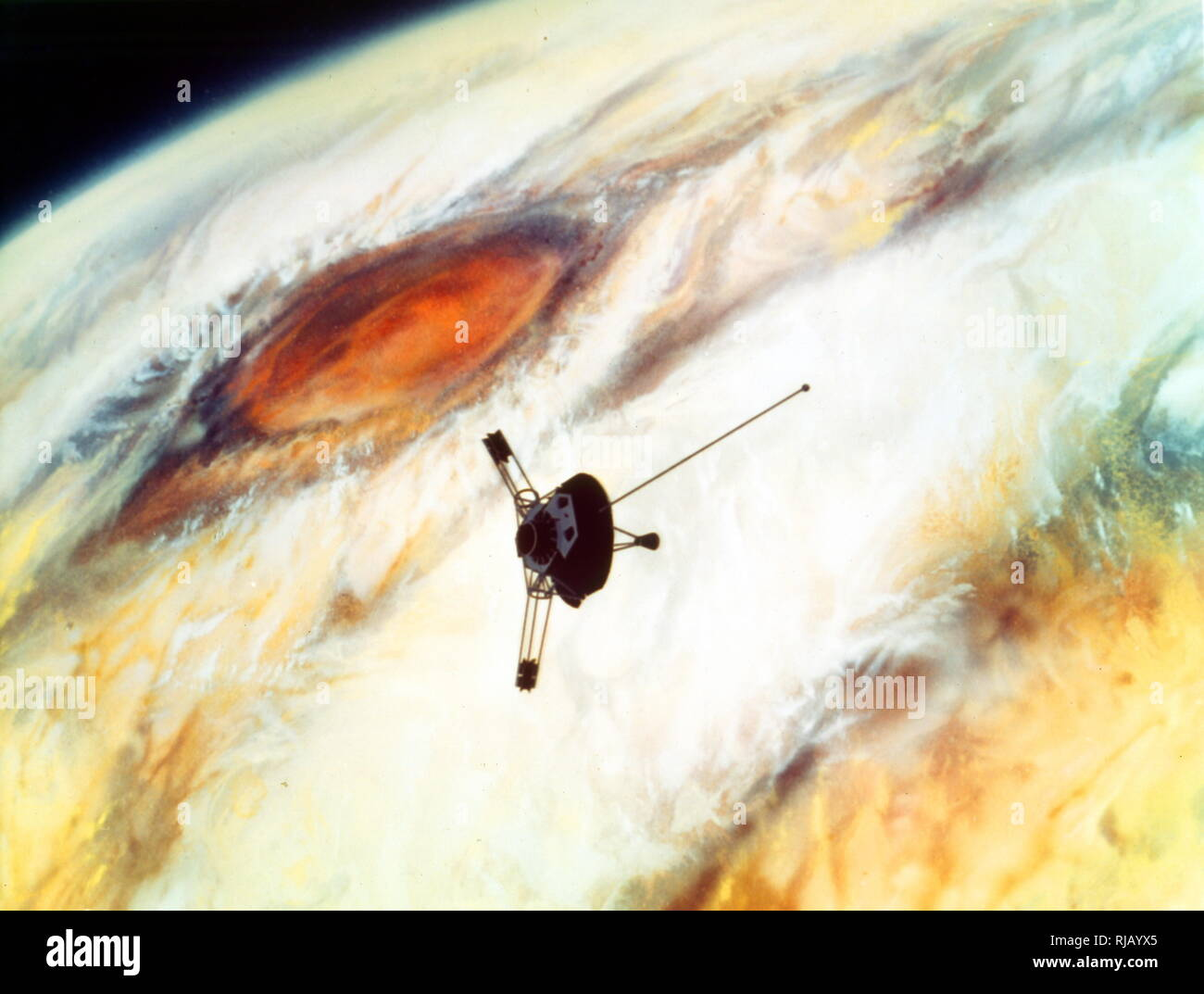 Artist's impression of Pioneer 10's flyby of Jupiter. Pioneer 10 (originally designated Pioneer F) is an American space probe, launched in 1972 and weighing 258 kilograms (569 pounds), that completed the first mission to the planet Jupiter. Thereafter, Pioneer 10 became the first of five artificial objects to achieve the escape velocity that will allow them to leave the Solar System. - Stock Image