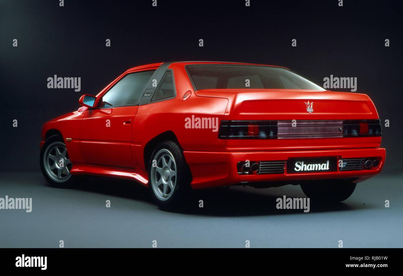 The Maserati Shamal (Tipo 339), two-door coupe produced by Italian car manufacturer Maserati from 1990 to 1996. In keeping with an established Maserati tradition, it is named after a wind: Shamal (Arabic for 'north'), a hot summer wind that blows in large areas of Mesopotamia - Stock Image