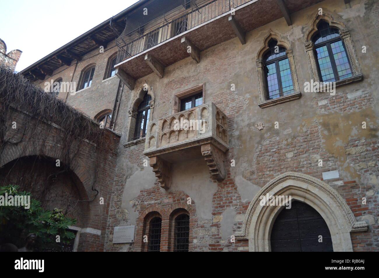 Balcony Of Juliet's House In Verona. Travel, holidays, architecture. March 30, 2015. Verona, Veneto region, Italy. Stock Photo