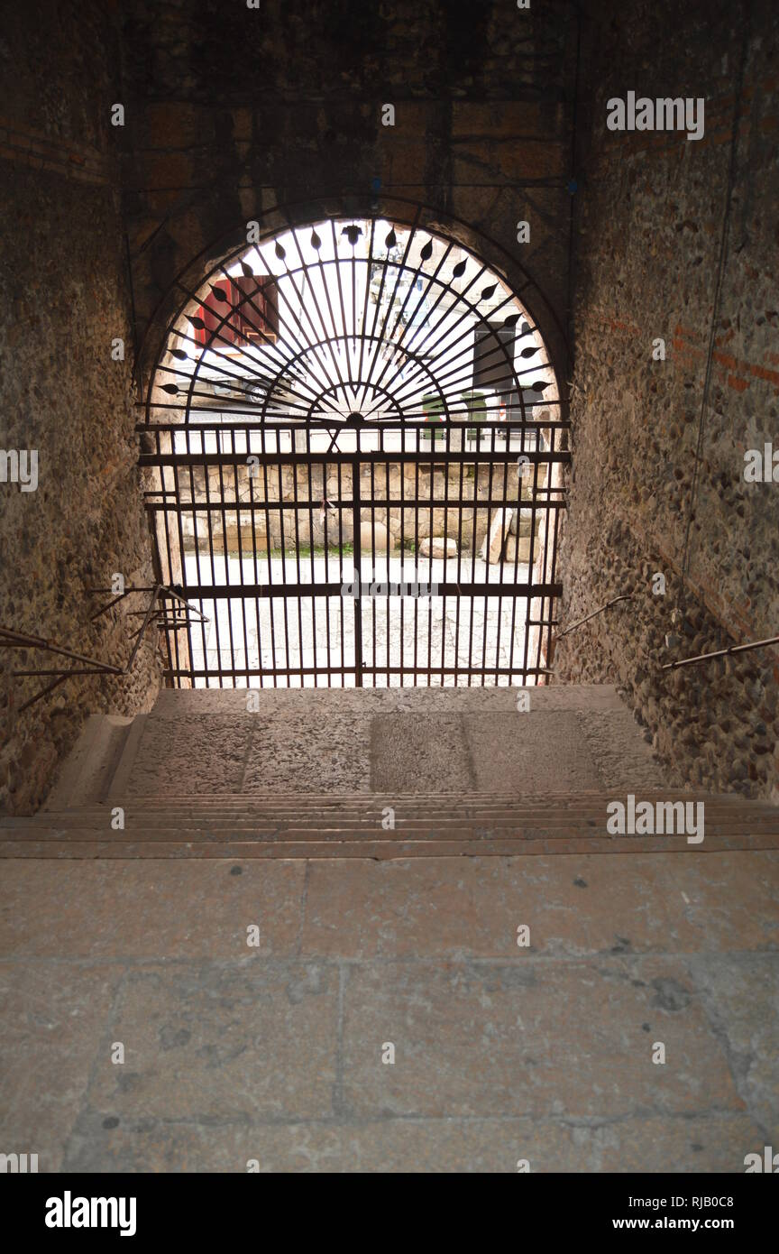 Entrance Arch To The Stands Of The Interior Of The Verona Arena Theater In Verona. Travel, holidays, architecture. March 30, 2015. Verona, Veneto regi - Stock Image