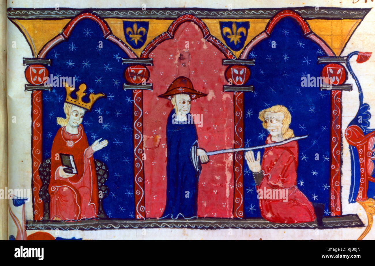 13th century illustration showing, Raymond VII submitting to the King of France Louis IX. 1229 AD. Raymond VII  of Toulouse (1197 - 1249), was count of Toulouse, and marquis of Gothie and Provence of 1222 to 1249. After years of guerrilla warfare, and a few weeks of negotiations at Meaux, Raymond resigned himself to signing the Treaty of Paris in 1229, by which he ceded the old Viscounts Trencavel to the King of France. This submission restored a real dependence of the County of Toulouse to the Crown of France, and Pope Gregory IX soon created, in 1233, the Inquisition to fight against the Cat - Stock Image