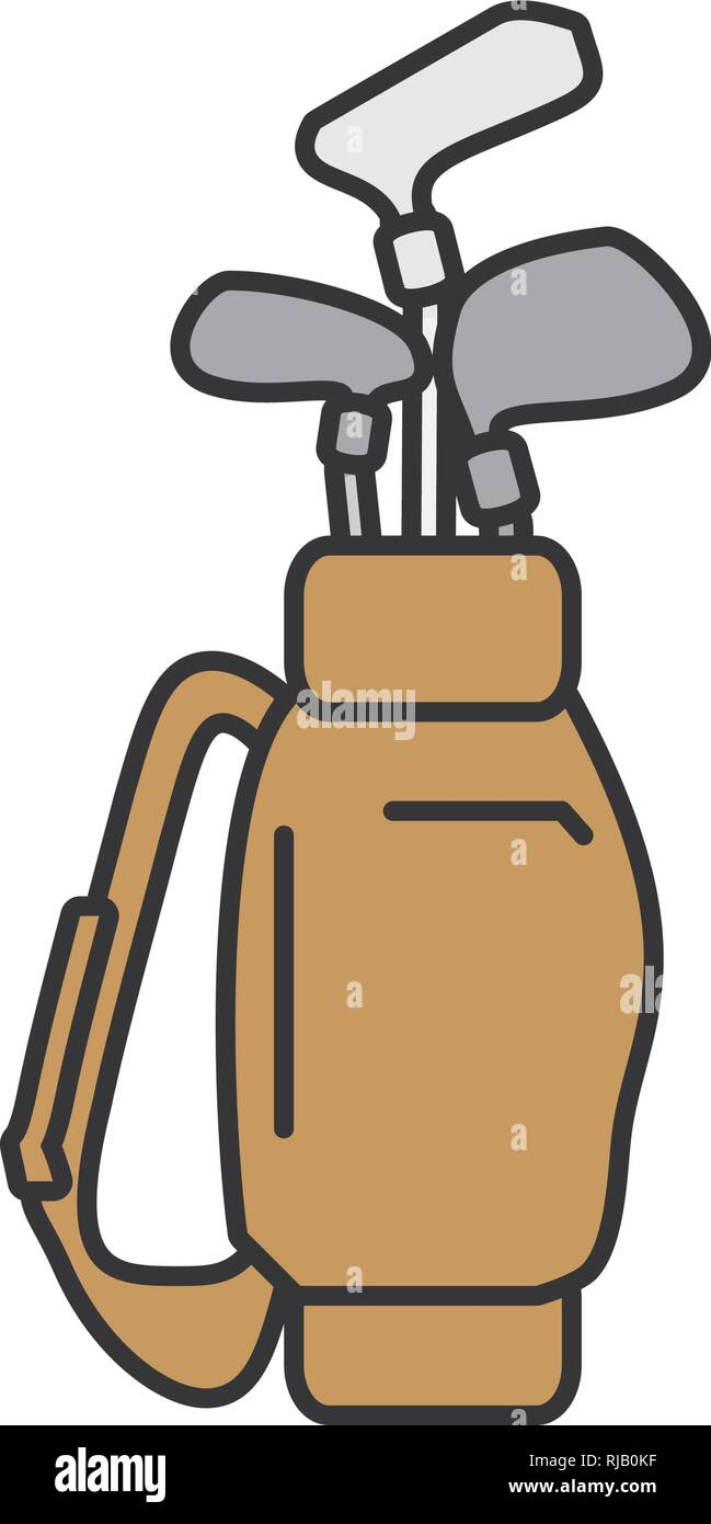 bag with golf clubs isolated icon vector illustration design - Stock Vector