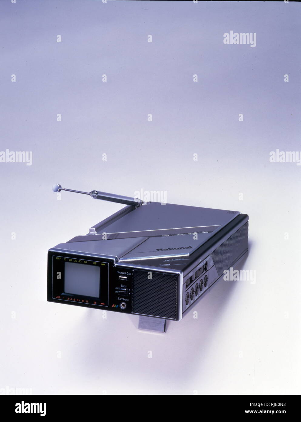 Panasonic, Matsushita, National, Colour Travelvision CT-101; with US VHF/UHF Tuner, magnifier lens, built-in antenna. manufacturing date Nov. 1984 - Stock Image