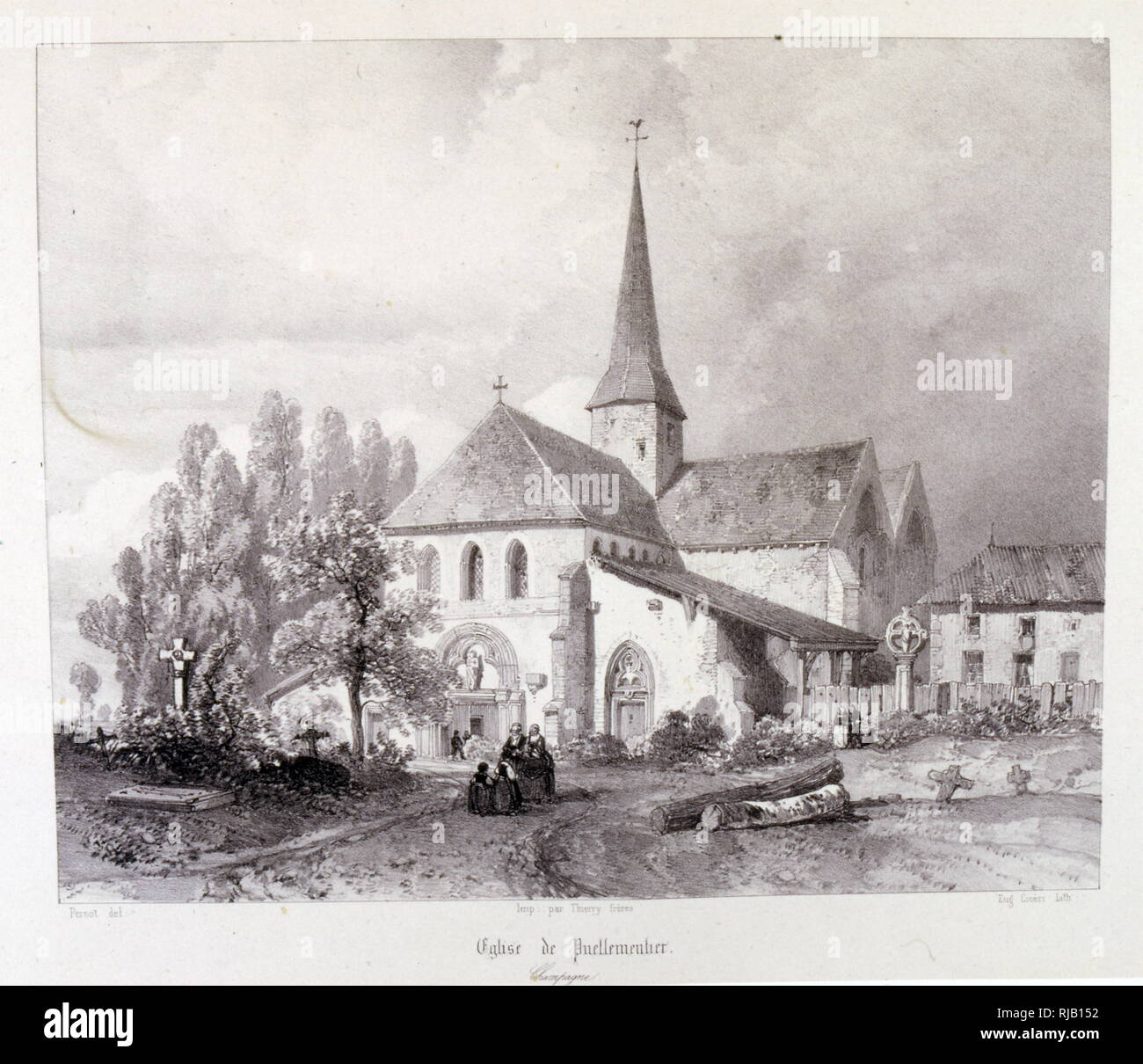 Eglise Notre-Dame-en-sa-Nativite, Puellemontier, FRance,1857, Drawing by Baron Isidore Taylor (1789 - 1879), French traveller and author. - Stock Image