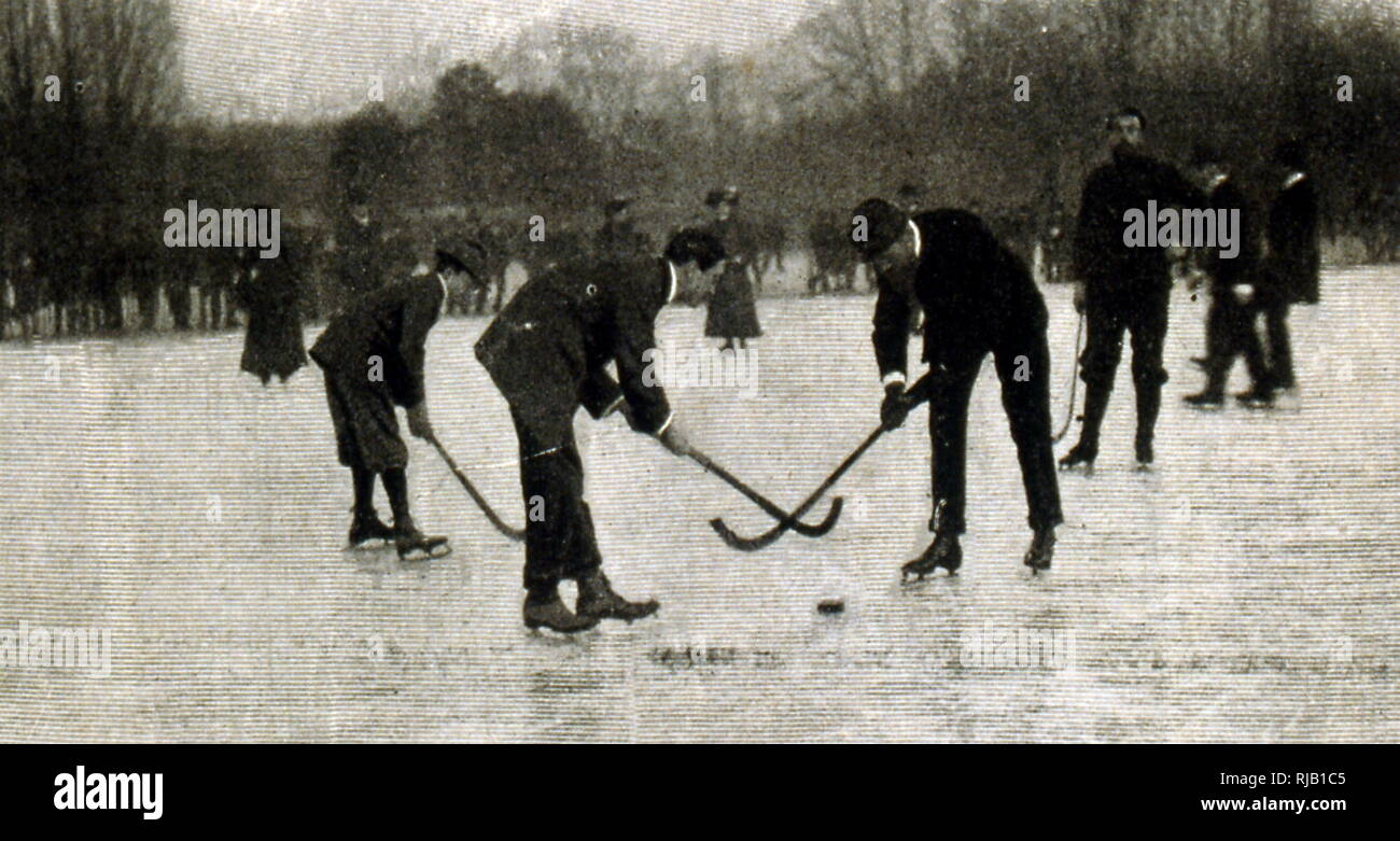 Photographs of ice hockey match in Germany 1902 - Stock Image