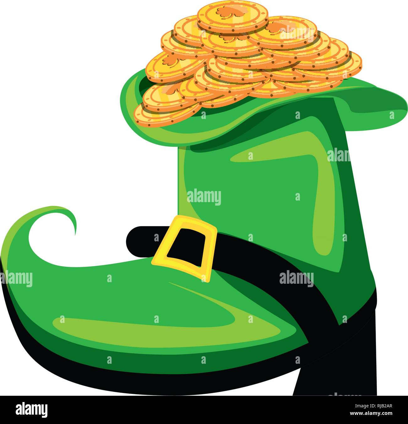 leprechaun boot with coins isolated icon vector illustration design Stock Vector