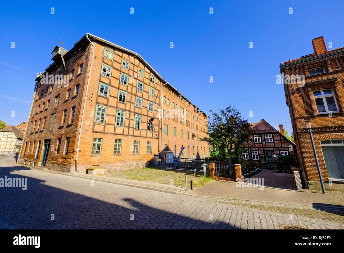 Bolbrueggesche Muehle - historic mill, Grabow (Elde), Mecklenburg-West Pomerania, Germany - Stock Image