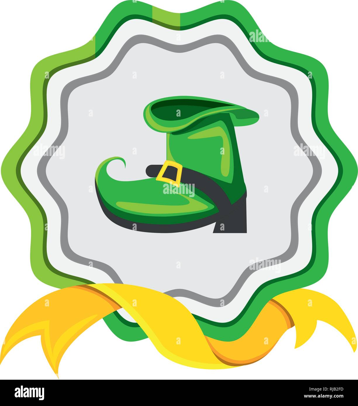 seal with leprechaun boot and ribbon vector illustration design Stock Vector