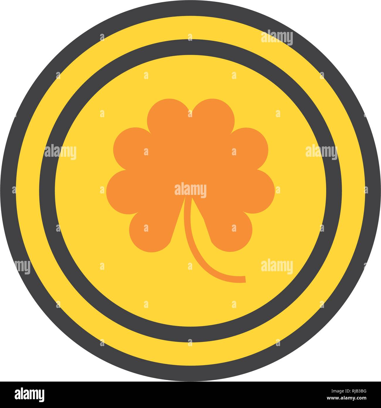 coin with clover isolated icon vector illustration design - Stock Image