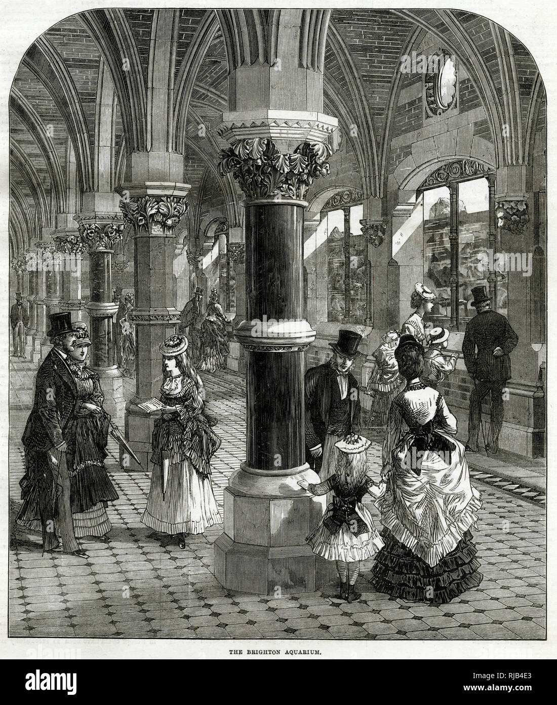 Interior of Brighton Aquarium, construction of a new sea-wall and promenade, the Madeira Road, which was commenced in 1869. The whole project was completed in 1872 at a cost of £130,000. Stock Photo