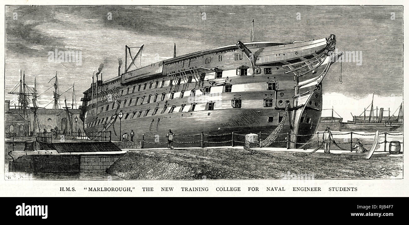 H.M.S Marlborough, the new training college for Naval Engineer for students at Portsmouth. - Stock Image