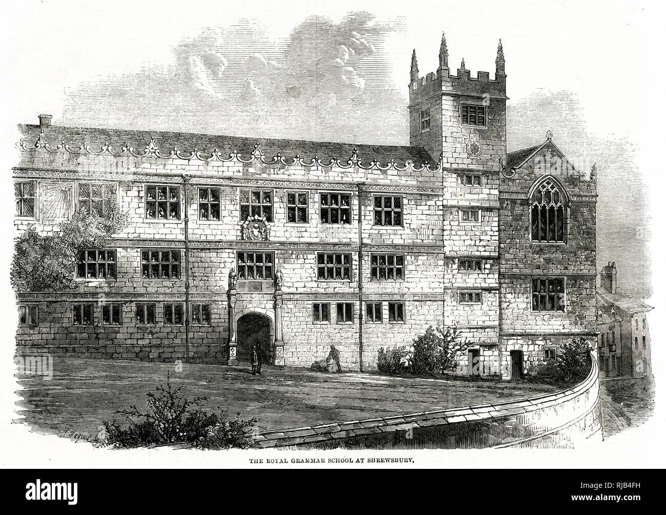 Exterior of the Royal Grammar School at Shrewsbury - Stock Image