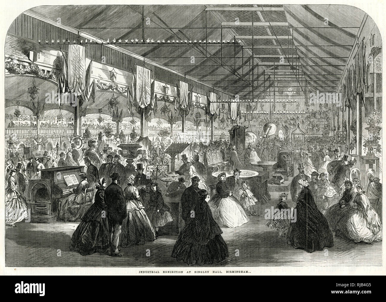 Interior of Industrial Exhibition at Bingley Hall, Birmingham. Stock Photo